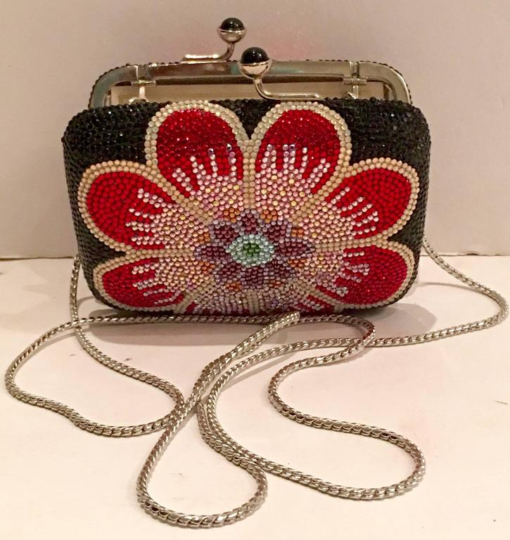 Judith Leiber Swarofski Crystal Couture Floral Minaudiere Box Evening Bag 7