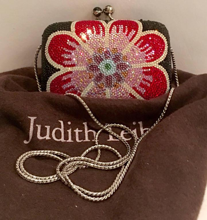 Judith Leiber Swarofski Crystal Couture Floral Minaudiere Box Evening Bag 8