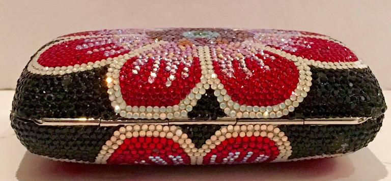 Judith Leiber Swarofski Crystal Couture Floral Minaudiere Box Evening Bag 9