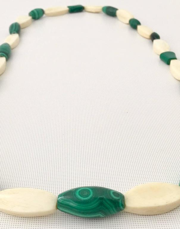 Vintage Malachite and Bone Bead Necklace For Sale 2