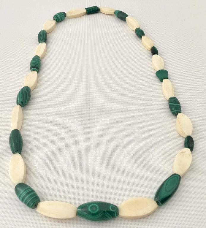 Vintage Malachite and Bone Bead Necklace For Sale 5