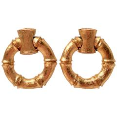 Napier Gold Vermeil Faux Bamboo Hoop Earrings