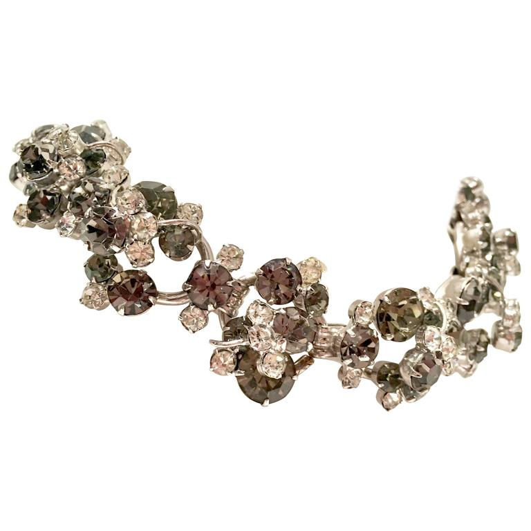 Women's or Men's 20th Century Italian Silver & Swarovski Crystal Chain Link Choker Necklace For Sale