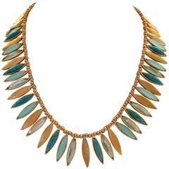 "Ellen Tracey Brushed Gold ""Feather"" Choker Necklace"