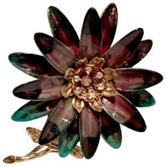 Art Nouveay Style Gold Plate & Enamel Austrian Crystal Flower Brooch
