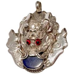 Vintage Nepalese Sterling and Lapis Lazuli Pendant Charm