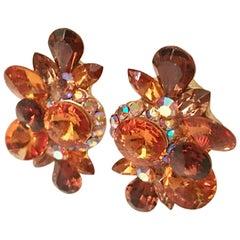 70'S Gold & Swarovski Crystal Rhinestone Earrings By, Delizza & Elster