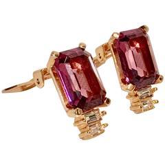 Christian Diior Crystal Amehtyst & Diamond Gold Set Earrings