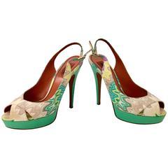 Missoni Chevron Peep Toe Platform Shoes, Size 8.5 New