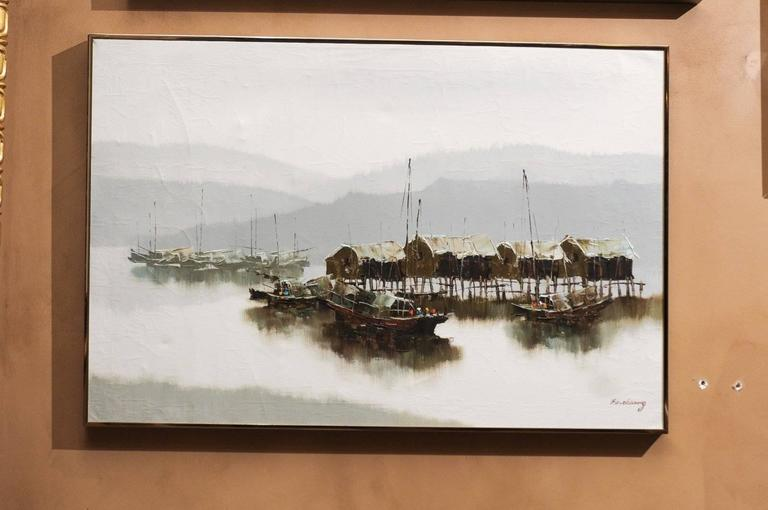 Pair of Hong Kong Harbor Oil Paintings in Neutral Colors by F.E. Cheang For Sale 1