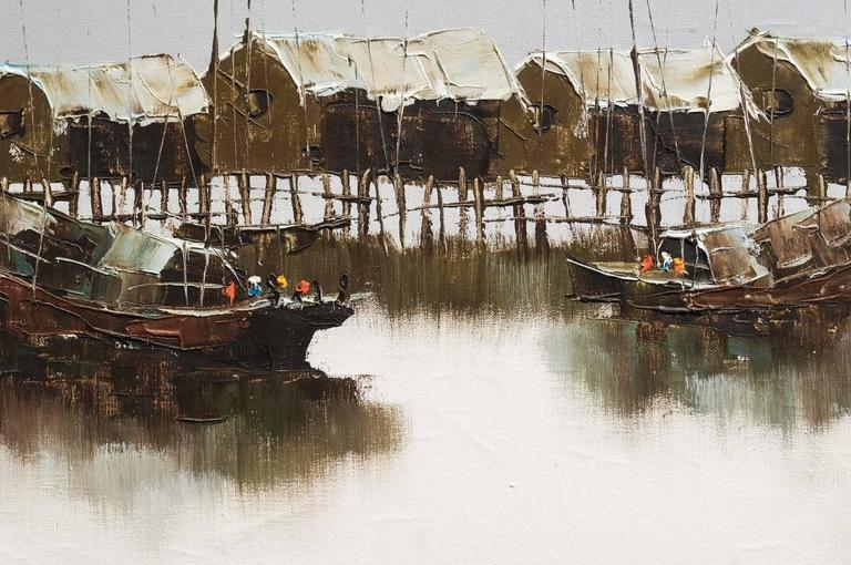 This is a beautiful set of two oil paintings depicting the bay of Victoria in Hong Kong.