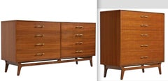 RWAY Mid-Century Modern Walnut Double Dresser and Chest of Drawers Highboy