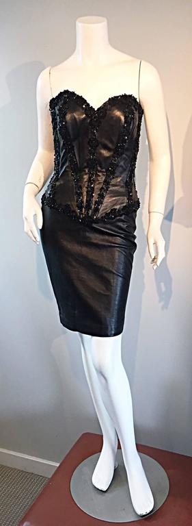 Rare Vintage Vicky Tiel Couture Sexy Leather Beaded + Sequin Corset Black Dress  2