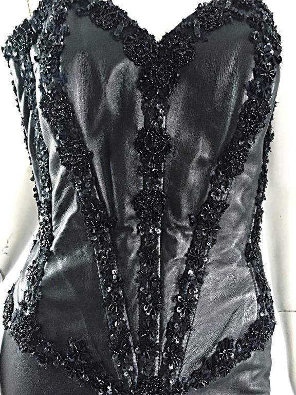 Rare Vintage Vicky Tiel Couture Sexy Leather Beaded + Sequin Corset Black Dress  For Sale 6