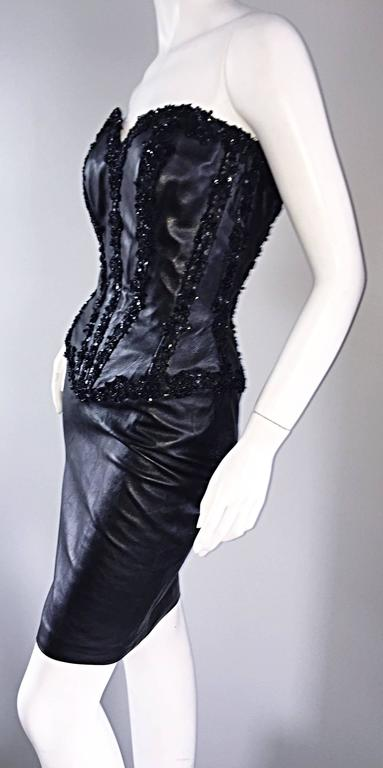 Rare Vintage Vicky Tiel Couture Sexy Leather Beaded + Sequin Corset Black Dress  For Sale 2