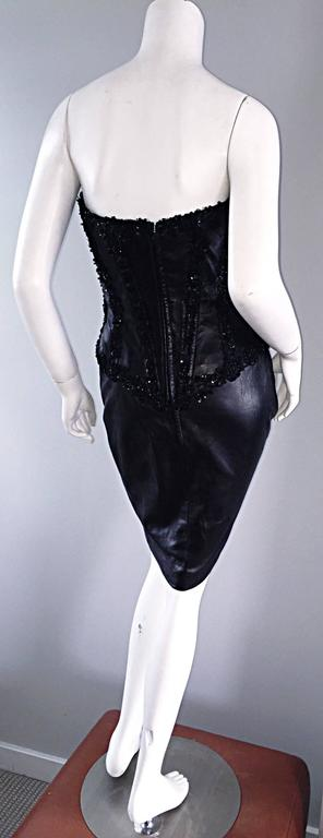 Rare Vintage Vicky Tiel Couture Sexy Leather Beaded + Sequin Corset Black Dress  For Sale 1