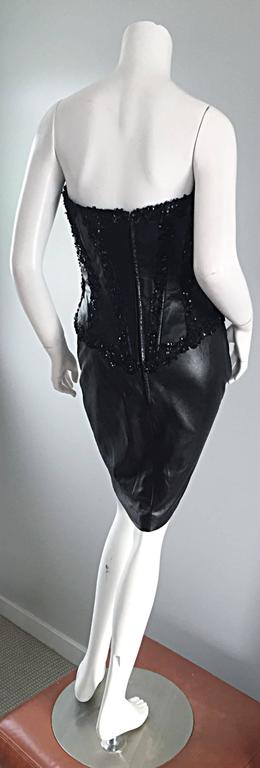 Women's Rare Vintage Vicky Tiel Couture Sexy Leather Beaded + Sequin Corset Black Dress  For Sale