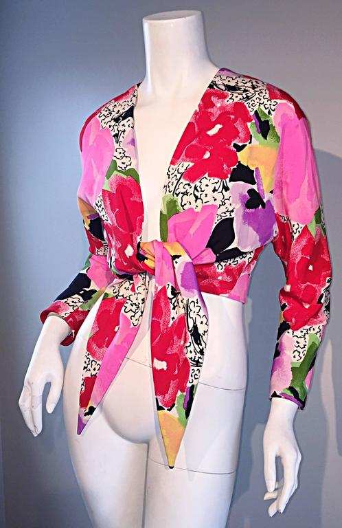 Pink Rare Vintage Pierre Cardin Haute Couture SS1989 Floral Cropped Bolero Shrug Top For Sale