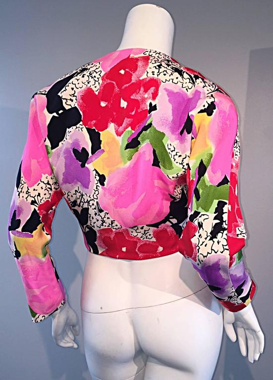 Rare Vintage Pierre Cardin Haute Couture SS1989 Floral Cropped Bolero Shrug  Rare vintage PIERRE CARDIN Haute Couture cropped bolero/shrug jersey jacket top! Bold, vibrant floral print throughout. Completely hand-sewn, numbered, and marked