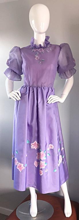 Beautiful vintage RICHILENE ' Victorian Revival ' light purple / lilac hand painted silk dress! Silk chiffon bodice, with hand painted flowers on bodice (front, back, and sleeves). Sleeves feature elastic cuffs, which can also be pushed up for a