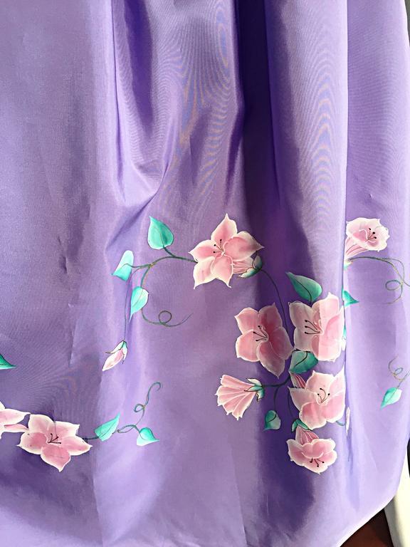 Beautiful Vintage Richilene Light Purple / Lilac Hand Painted Flower Silk Dress For Sale 1