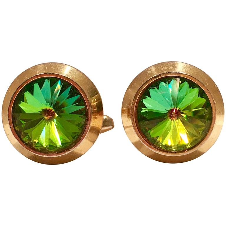 """Mid-Century Crystal """"Watermelon"""" & Gold Plate Cufflinks For Sale"""