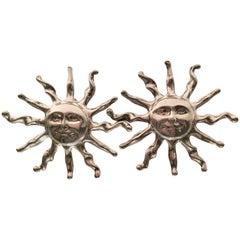 Vintage Sterling Silver Large Sunburst Earrings