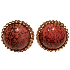 60'S Gold & Coral Glass Stone Cufflinks By Hickock