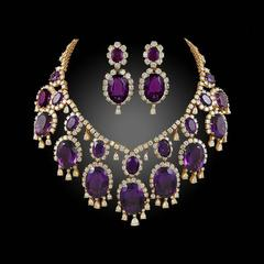 Van Cleef & Arpels Amethyst and Diamond Necklace and Ear Clips