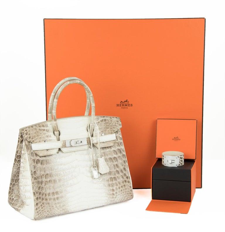 Beige Hermès Birkin Bag 30cm Himalayan Diamond Encrusted  & Matching Kelly GM Bracelet For Sale