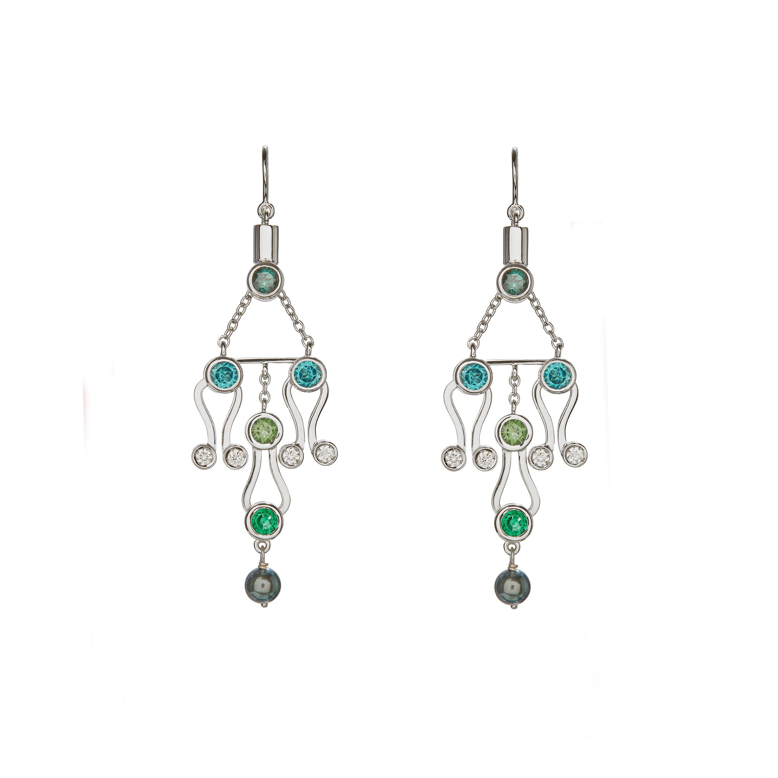 Nathalie Jean 0.2Carat Diamond Emerald Tourmaline Indicolite Pearl Gold Earrings