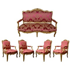 Salon Louis XV Style, Five Pieces in Gilded Wood