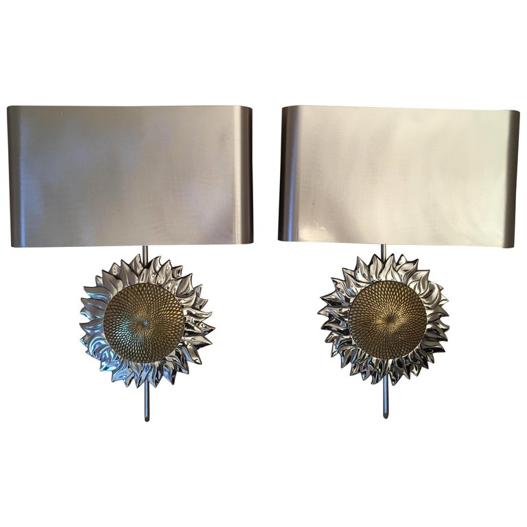 Maison Charles French Gilt and Silvered Sunflower Sconces, Paris, 1970s, Signed