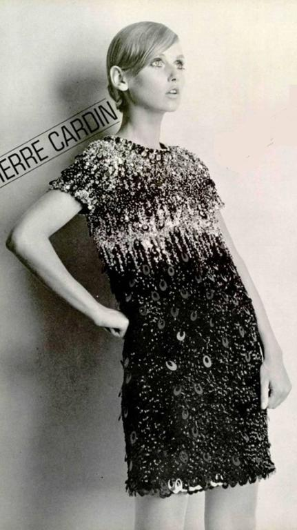 1967/68  Pierre Cardin Amazing Haute Couture Black and Gold Sequins  6