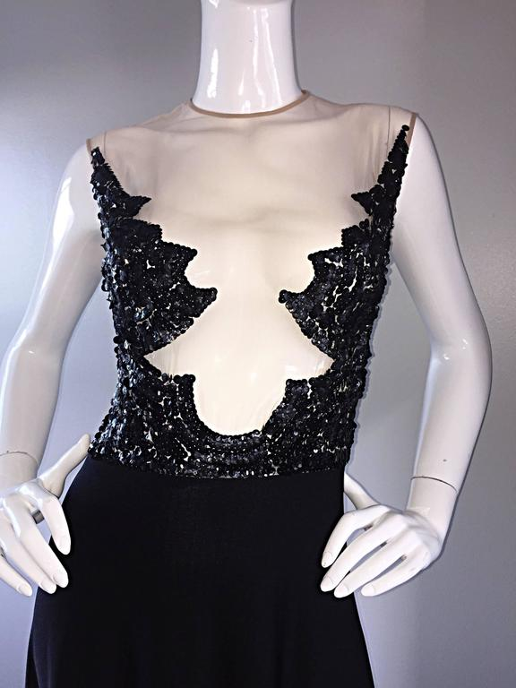 Incredible 1970s Mr. Blackwell Vintage Nude Illusion Sequin Couture Black Gown  For Sale 4
