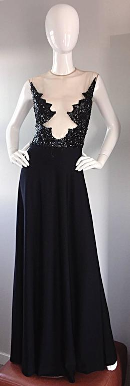 Incredible 1970s Mr. Blackwell Vintage Nude Illusion Sequin Couture Black Gown  In Excellent Condition For Sale In Chicago, IL