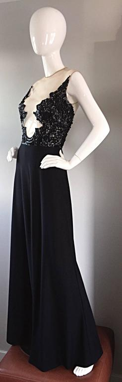 Incredible 1970s Mr. Blackwell Vintage Nude Illusion Sequin Couture Black Gown  For Sale 3