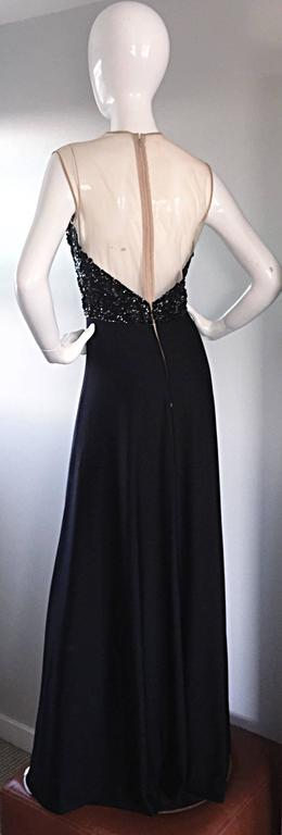 Incredible 1970s Mr. Blackwell Vintage Nude Illusion Sequin Couture Black Gown  For Sale 2