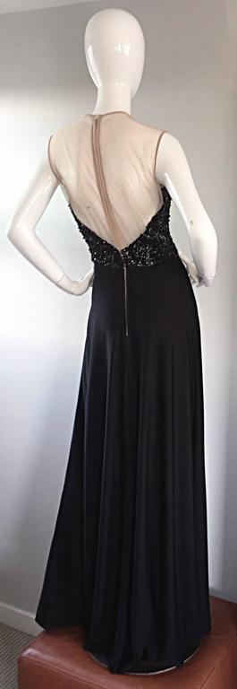 Women's Incredible 1970s Mr. Blackwell Vintage Nude Illusion Sequin Couture Black Gown  For Sale