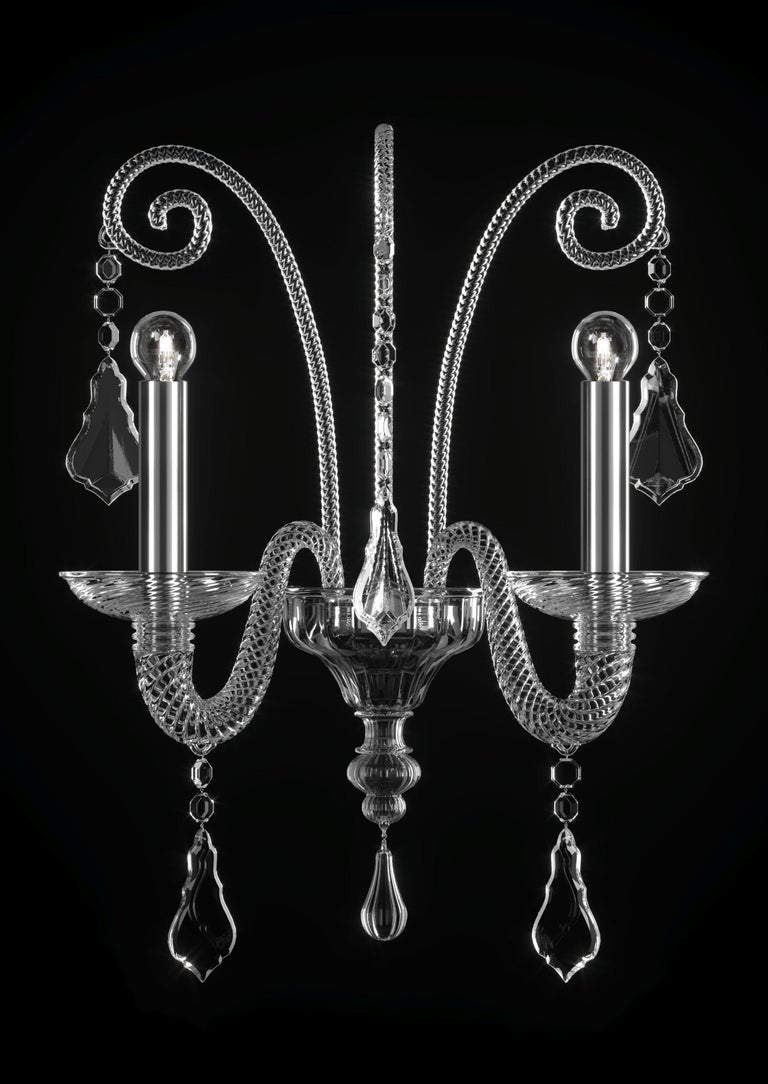 For Sale: Clear (Crysral_CC) Izmir 5555 02 Wall Sconce in Glass, by Barovier&Toso 2
