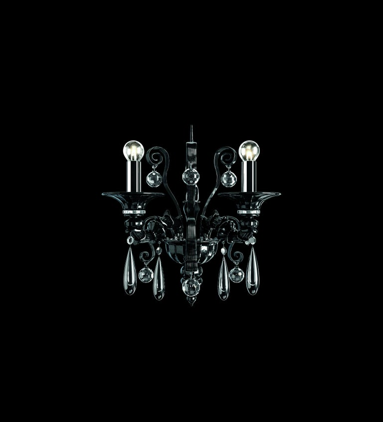 For Sale: Black (Black_NN) Dhamar 5596 02 Wall Sconce in Glass, by Barovier&Toso 2