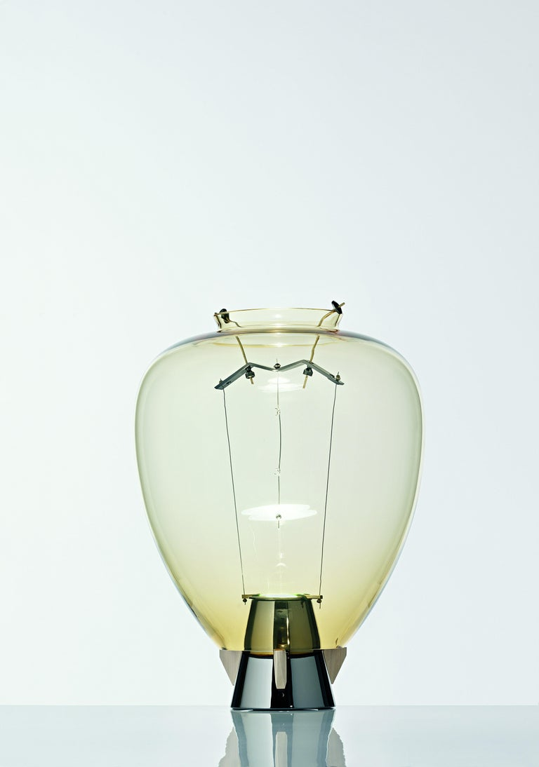 For Sale: Yellow (Amber_AA) Veronese 6536 Table Lamp in Glass & Brass, by Umberto Riva from Barovier&Toso 2