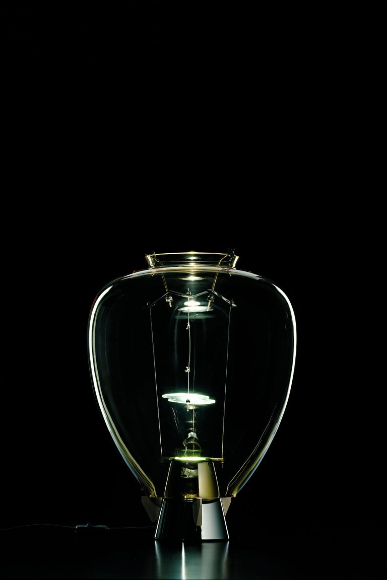 For Sale: Yellow (Amber_AA) Veronese 6536 Table Lamp in Glass & Brass, by Umberto Riva from Barovier&Toso 3