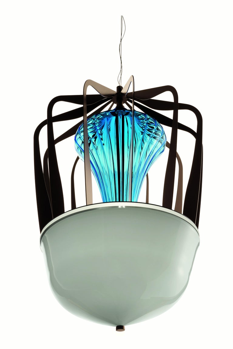 For Sale: Blue (Bluastro_LQ) Robin 7280 Suspension Lamp in Glass with Bronze Finish, by Barovier&Toso 6