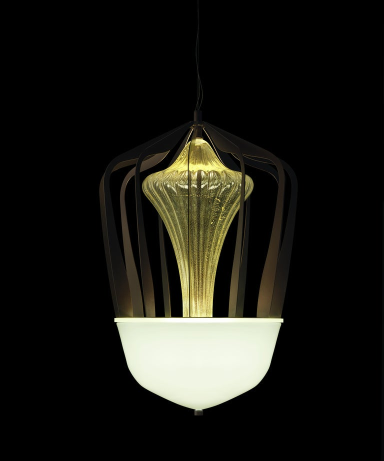 For Sale: Gold (Gold_OO) Robin 7280 Suspension Lamp in Glass with Bronze Finish, by Barovier&Toso 4