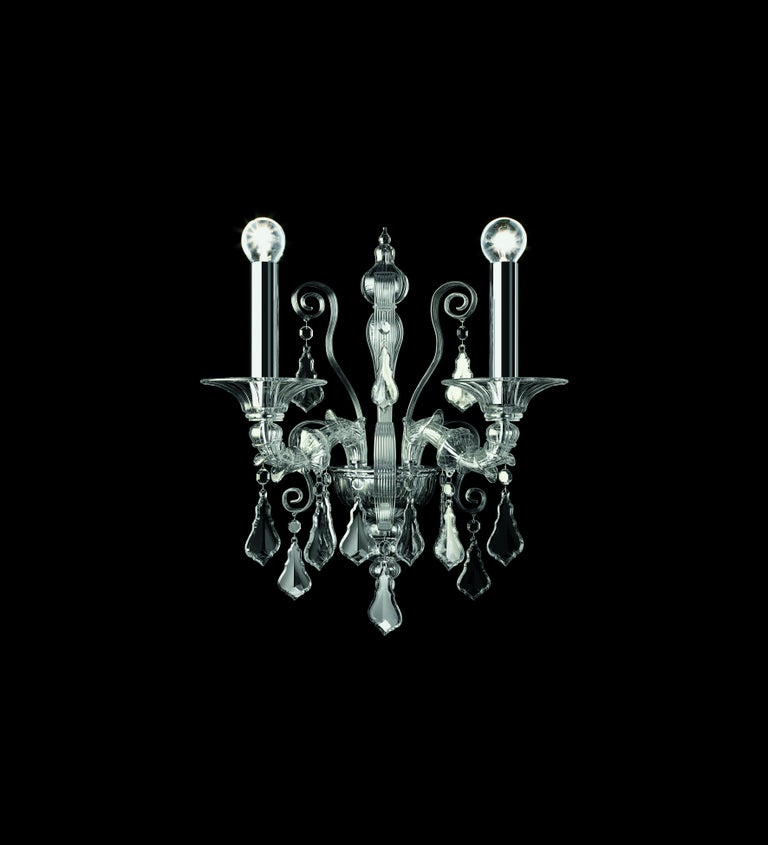 For Sale: Clear (Crystal_CC) Riyadh 5349 02 Wall Sconce in Glass, by Barovier&Toso 2