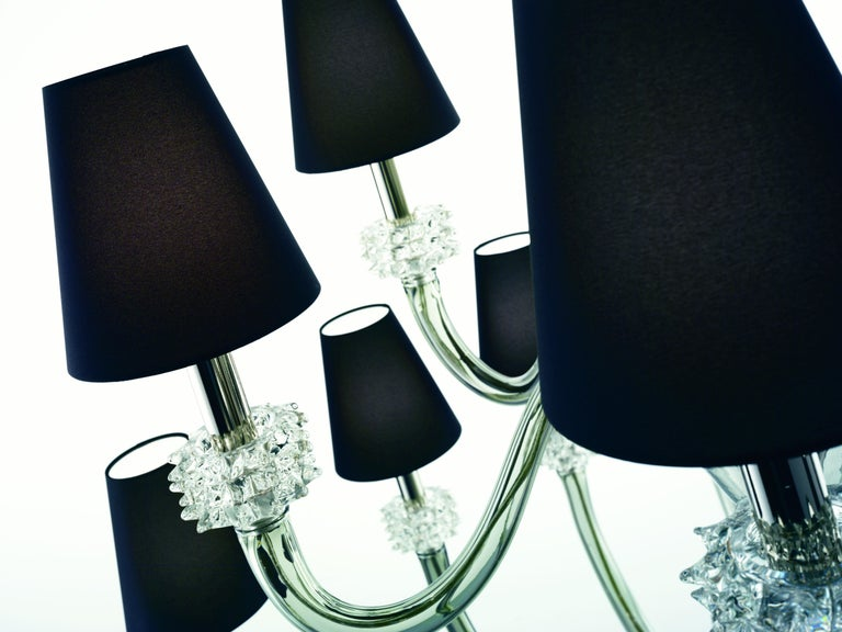 For Sale: Gray (Grey_IC) Amsterdam 5562 18 Chandelier in Chrome & Glass, Black Shade, by Barovier&Toso 8