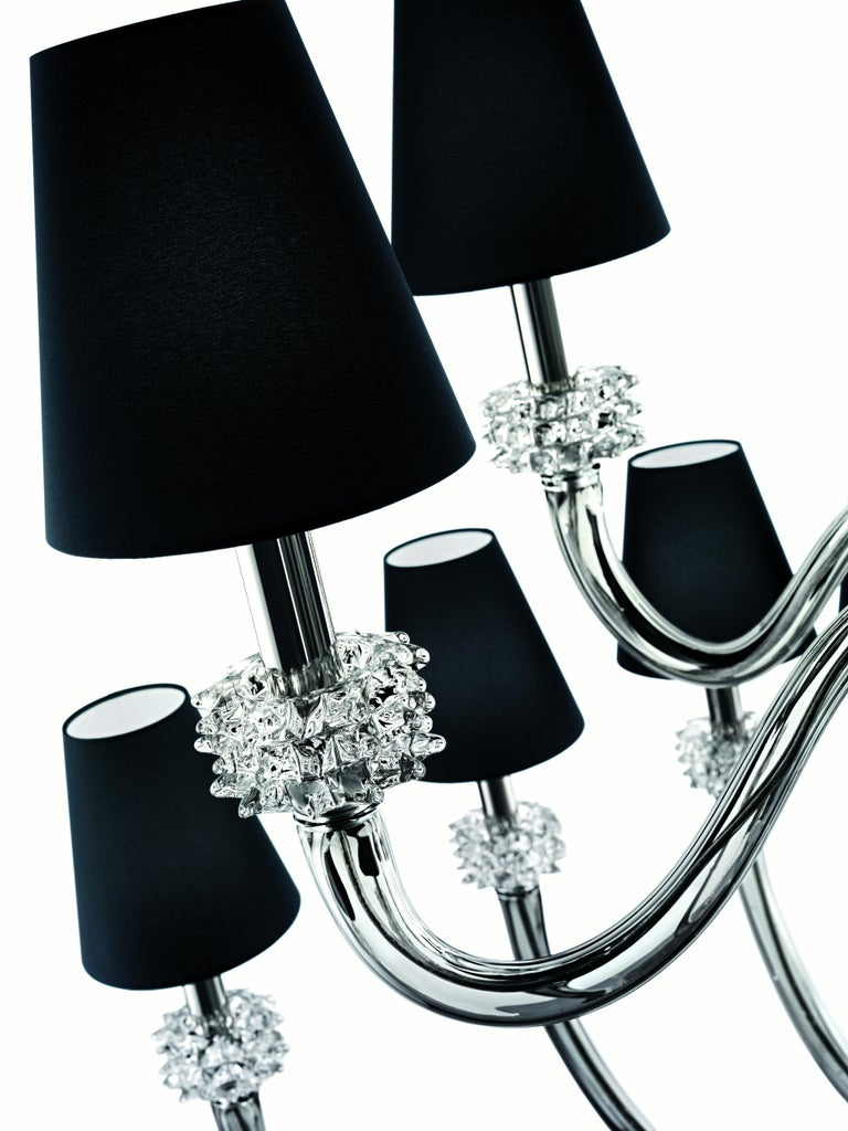 For Sale: Gray (Grey_IC) Amsterdam 5562 18 Chandelier in Chrome & Glass, Black Shade, by Barovier&Toso 7