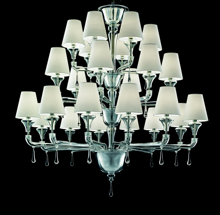 For Sale: Clear (Crystal_CC) Nevada 5549 24 Chandelier in Glass with White Shade, by Barovier&Toso 3