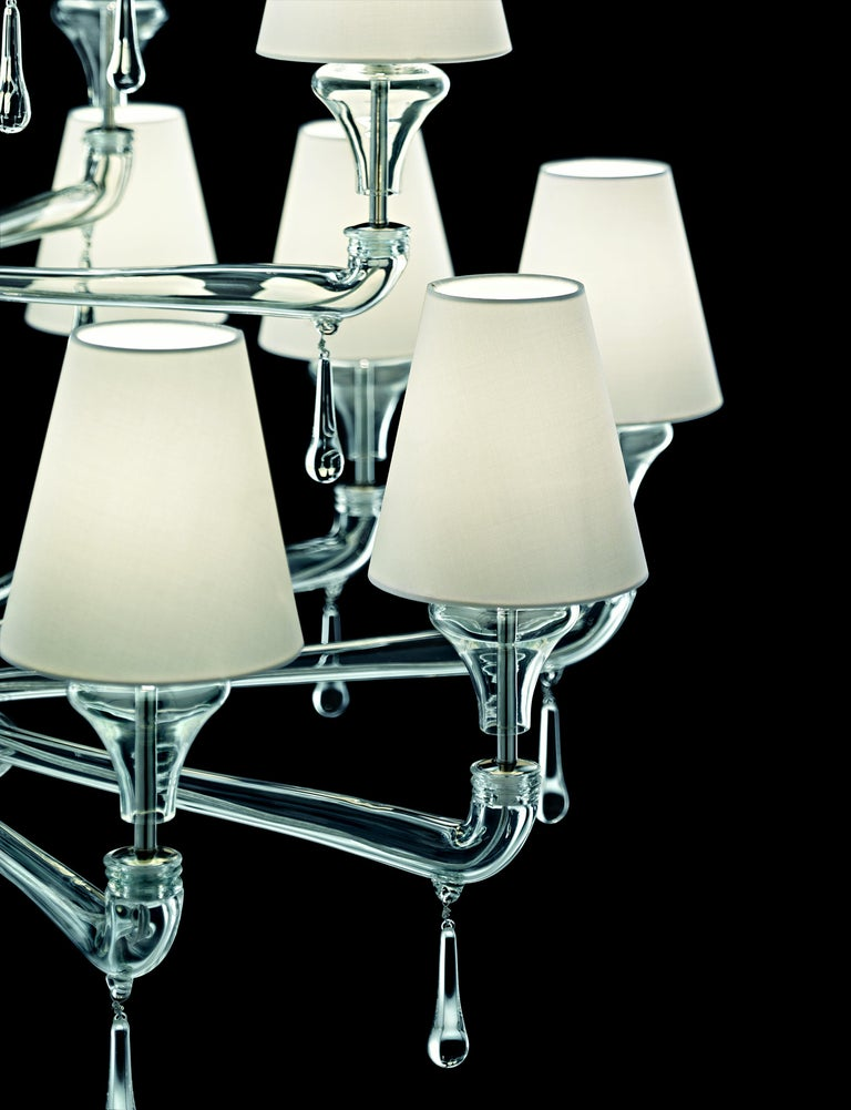 For Sale: Clear (Crystal_CC) Nevada 5549 24 Chandelier in Glass with White Shade, by Barovier&Toso 4